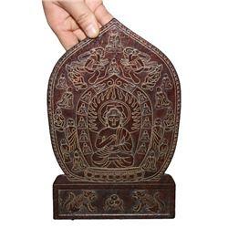 A OLD JADE CARVED SHAKYAMUNI BUDDHA THANGKA QING DYNASTY.
