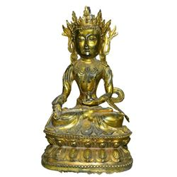 A GILT BRONZE GUANYIN BUDDHA FIGURE QING DYNASTY.