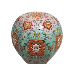 A FAMILLE ROSE TABEL LAMP QING DYNASTY.