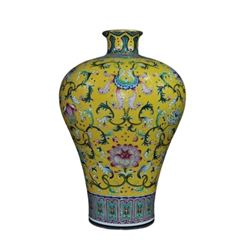 A FAMILLE ROSE MEIPING VASE QIANLONG MARK.