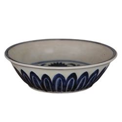 A BLUE AND WHITE LOTUS BOWL MING DYNASTY.