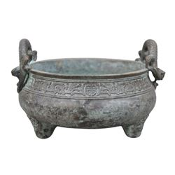 A BRONZE DOUBLE HANDLE DRAGON INCENSE BURNER QING DYNASTY.