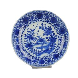 A BLUE AND WHITE CRANE PLATE KANGXI PERIOD.