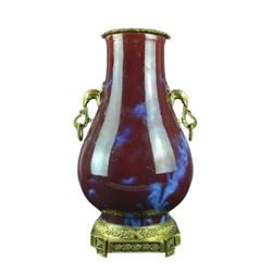 A RED FLAMBE GLAZE INLY GILT BRONZE VASE QIANLONG MARK.