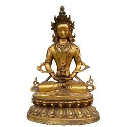 A GILT BRONZE LONGEVITY BUDDHA FIGURE QING DYNASTY.