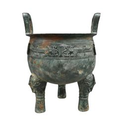 A BRONZE DOUBLE HANDLE TRIPOD CENSER MING DYNASTY.