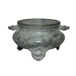 A BRONZE DOUBLE EAR BEAST INCENSE BURNER QING DYNASTY.