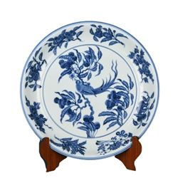 A BLUE AND WHITE BIRD PLATE XUANDE PERIOD.