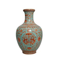 A BLUE AND RED DRAGON VASE GUANGXU MARK.