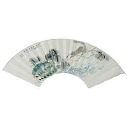 A INK AND COLOR FAN SHAPE PAINTING QING DYNASTY.