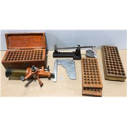 RELOADING LOT W/ REDDING SCALE, CASE LENGTH GAGE, POWDER MEASURE, ETC
