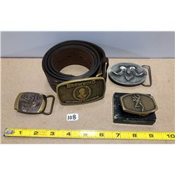 """38"""" - 40"""" LEATHER BELT W/ BROWNING BUCKLE. INT SHOOTING BUCKLE. BROWNING BUCKLE. ELK BUCKLE."""