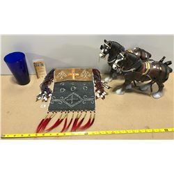 COLLECTIBLES LOT: 2 X BUDWEISER CLYDESDALES. NATIVE BAG. CMR GLASS.