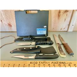 4 X HUNTING KNIVES & PLASTIC CARRY CASE