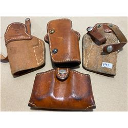 LOT OF 3 LEATHER HOLSTERS & MAG HOLDER