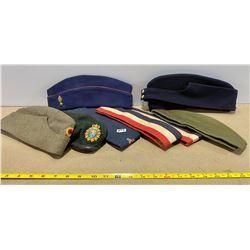 LOT OF 8 WW II WEDGE CAPS