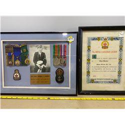 LOT OF 2 FRAMED AWARDS - TOM BARBER - CND SAILOR