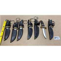 LOT OF 6 KEY CHAIN KNIVES