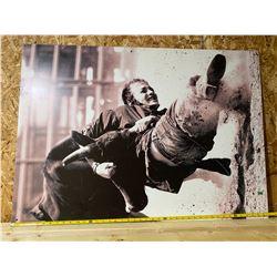 CALGARY STAMPEDE VINTAGE POSTER ON ALUM PANEL - STEER WRESTLING
