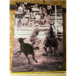 CALGARY STAMPEDE VINTAGE POSTER ON ALUM PANEL - CALF ROPING