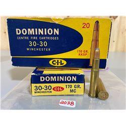 40 X DOMINION .30-30 170 GR KKSP & 170 GR MC