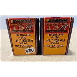 100 X BARNES TSX .411 BULLETS 300 GR