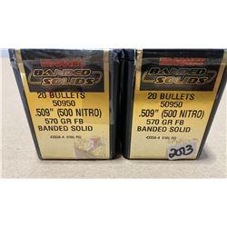 39 X BARNES BRANDED SOLIDS .509 BULLETS 570 GR