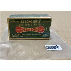 50 X REMINGTON KLEANBORE .22 LR - COLLECTIBLE SEALED BOX