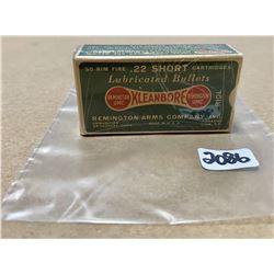 50 X REMINGTON KLEANBORE .22 S - COLLECTIBLE SEALED BOX