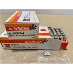 100 X WINCHESTER .38 158 GR SEMI-WAD CUTTER