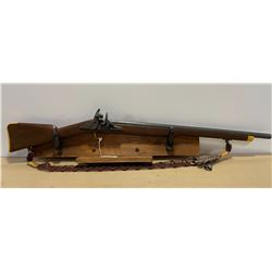 FLINTLOCK RIFLE - HAND CARVED ON DISPLAY SHELF