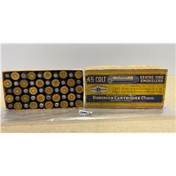 50 X DOMINION .45 COLT IN COLLECTIBLE BOX