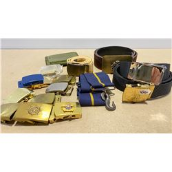LOT OF MILITARY BELTS / BUCKLES / WALLET