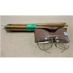 VINTAGE CLEANING RODS & SAFETY GLASSES