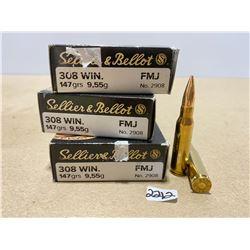 60 X  SELLIER & BELLOT .308 WIN 147 GR