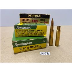34 X LIVE & 8 X BRASS REMINGTON / IMPERIAL .30 - 06 SPRINGFIELD