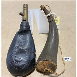 "9"" POWDER HORN & PHEASANT EMBOSSED LEATHER SHOT POUCH"