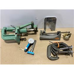 RELOADING PRESS, SCALE, CLAMPS, CASE SIZER, CONCENTRICITY GAUGE