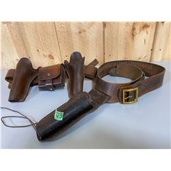LOT OF 2 AMMO BELTS & HOLSTERS