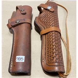 "LOT OF 2 LEATHER HOLSTERS FOR 6"" BARREL FIREARMS"