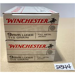 100 X WINCHESTER 9 MM LUGER 115 GR - UNOPENED BOXES