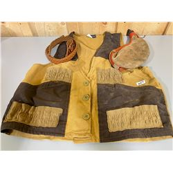 LOT OF HUNTING VEST, FLASK & BELT