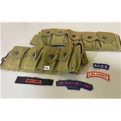CANVAS MILITARY AMMO BELT & MISC BADGES