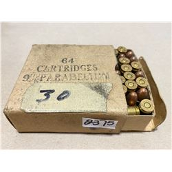 64 X 9 MM PARA IN ORIG WWII BOX