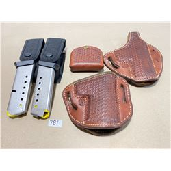 LEATHER HOLSTERS & CLIP HOLDERS & 2 X .45 MAGS