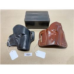 LOT OF 2 LEATHER HOLSTER & 3 X AMMO BOXES