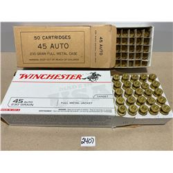 100 X .45 ACP ONCE FIRED BRASS