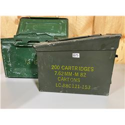 LOT OF 2 METAL AMMO BOXES