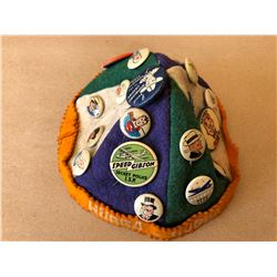"VINTAGE ""HUBBA HUBBA"" BEANIE W/ COLLECTIBLE PINS"