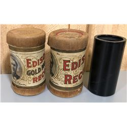 LOT OF 3 EDISON PHONOGRAPH CYLINDERS
